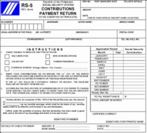 SSS RS-5 -- SSS Contributions Payment Form